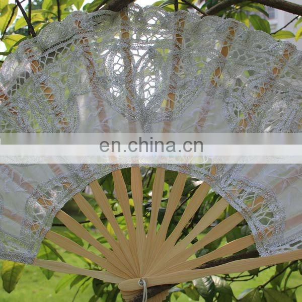 27cm Large Wedding Silver Lace Hand Fan With Embroidery