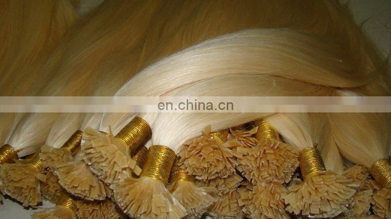High quality products flat tip keratin virgin hair indian remy hair