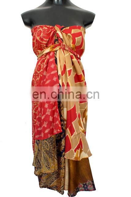 Assorted Color Print Ladies Vintage Silk Sari Wrap Skirts Online