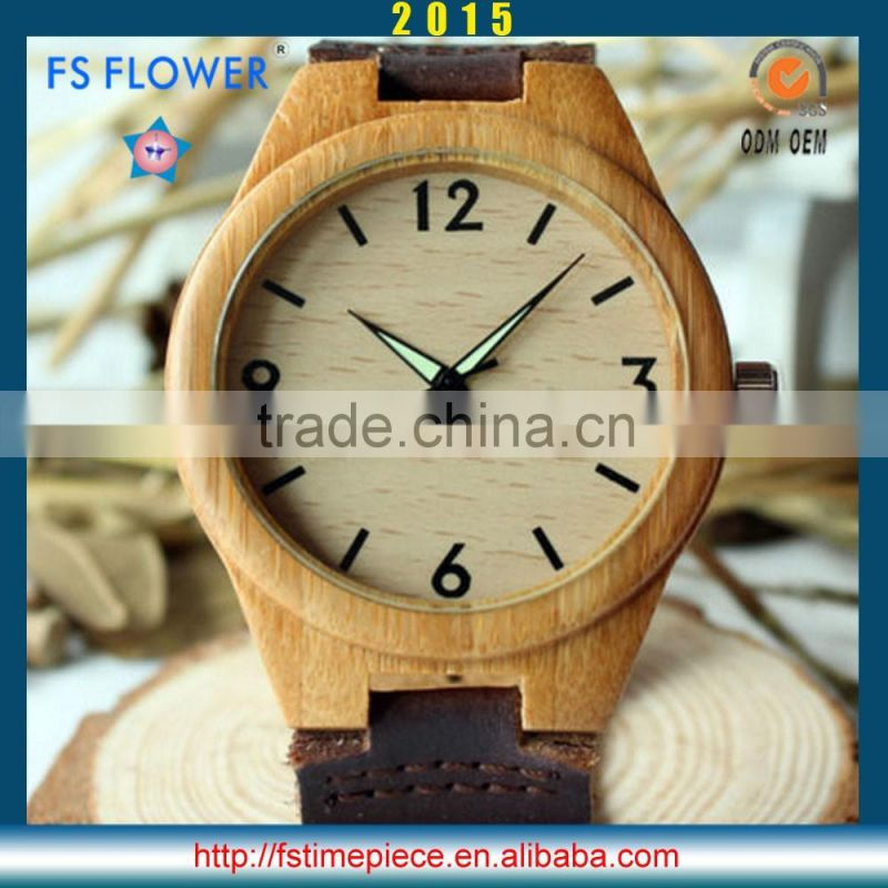 FS FLOWER - Wholesale In Bulk To Indonesia Men Wooden Watch Genuine Leather Strap