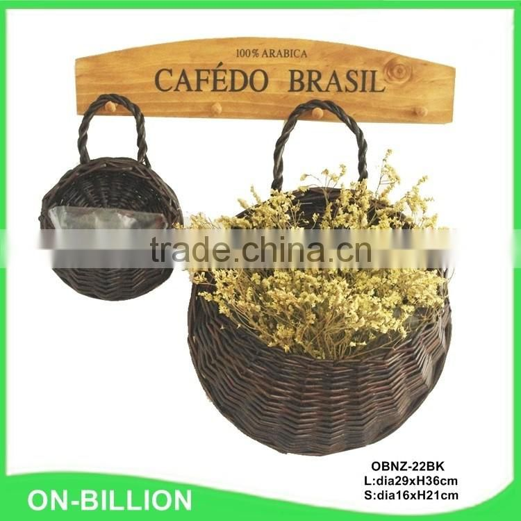 Dark color round wall hanging wicker baskets