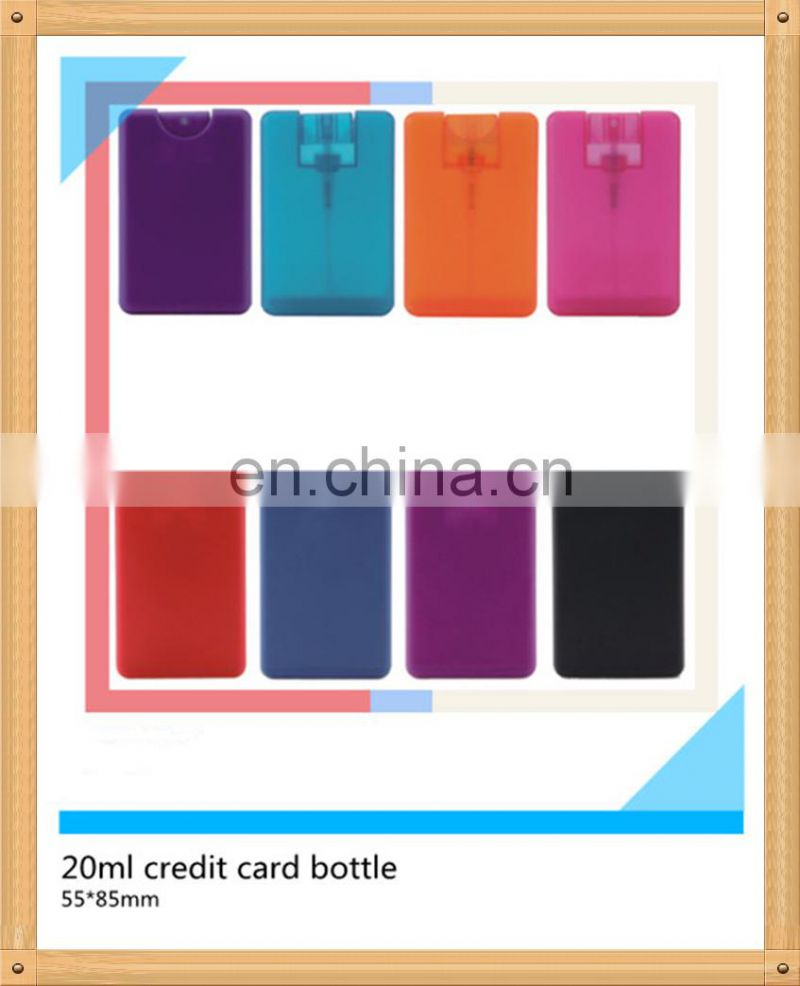 Top quality wholesale free sample new design credit card shaped plastic empty perfume bottles for sale pocket bottle 20ml perfum