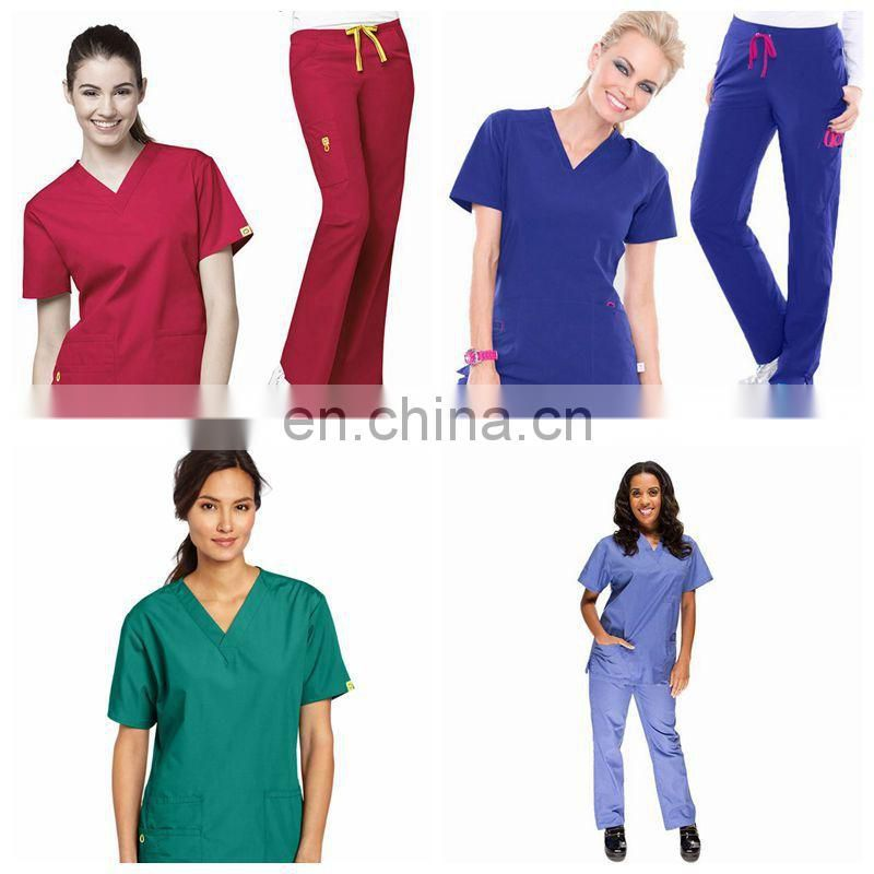 New style female nurse uniform designs /nurse scrub suits