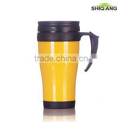400ml plastic office cup with handle, thermal cups, plastic insulated cups, plastic promotional cups