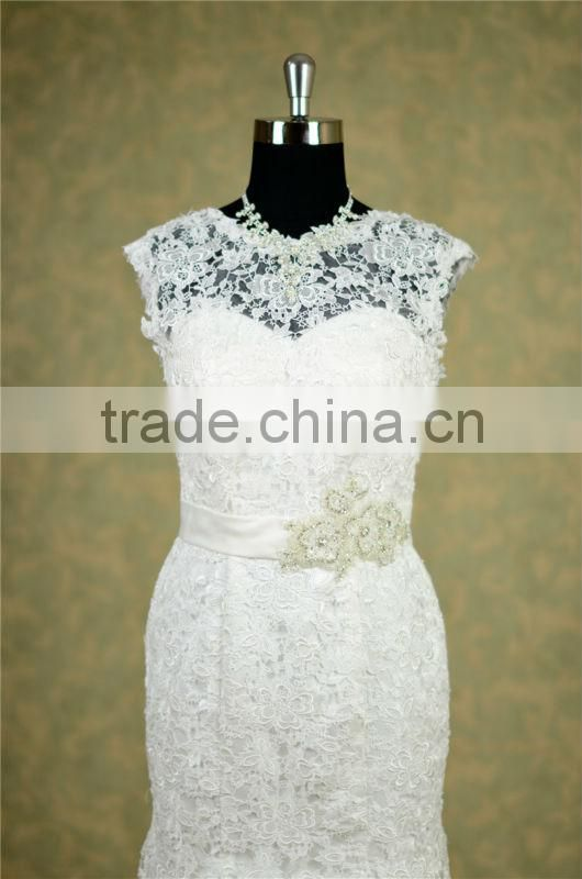 Real photo French Lace long train wedding dress with sleeve