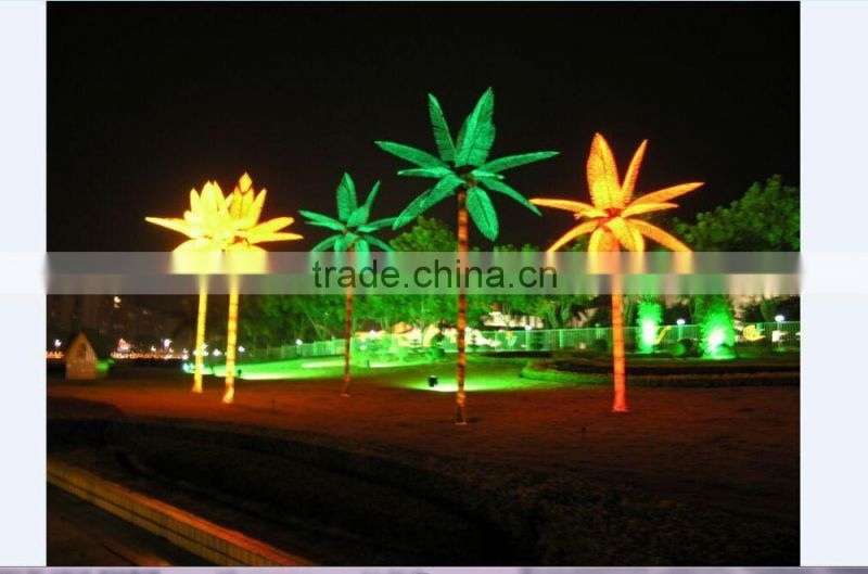 16.5ft Height outdoor artificial green flashing LED solar lighted up artificial plant Date palm trees with bark EDS06 1418