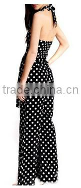 sexy deep V-Neck sleeveless backless one-piece polka dot long women designer rompers and jumpsuits