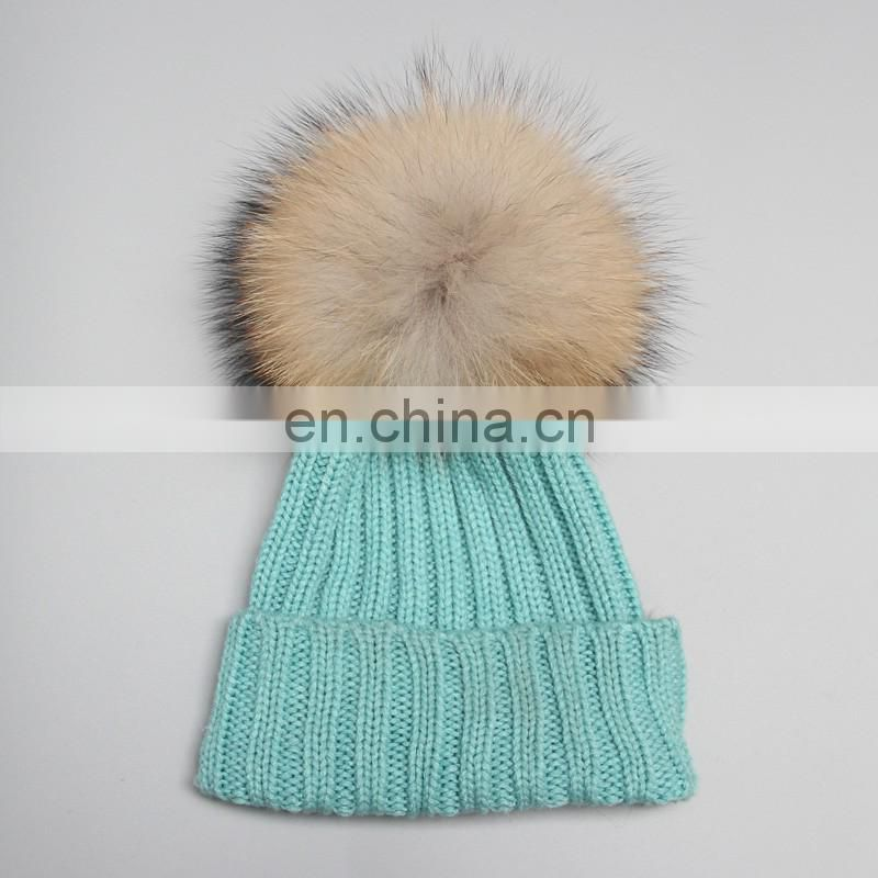 2015 New Year Product Cute Fashion Knit Kids Hats Fur Pom Pom Crochet Baby Hats