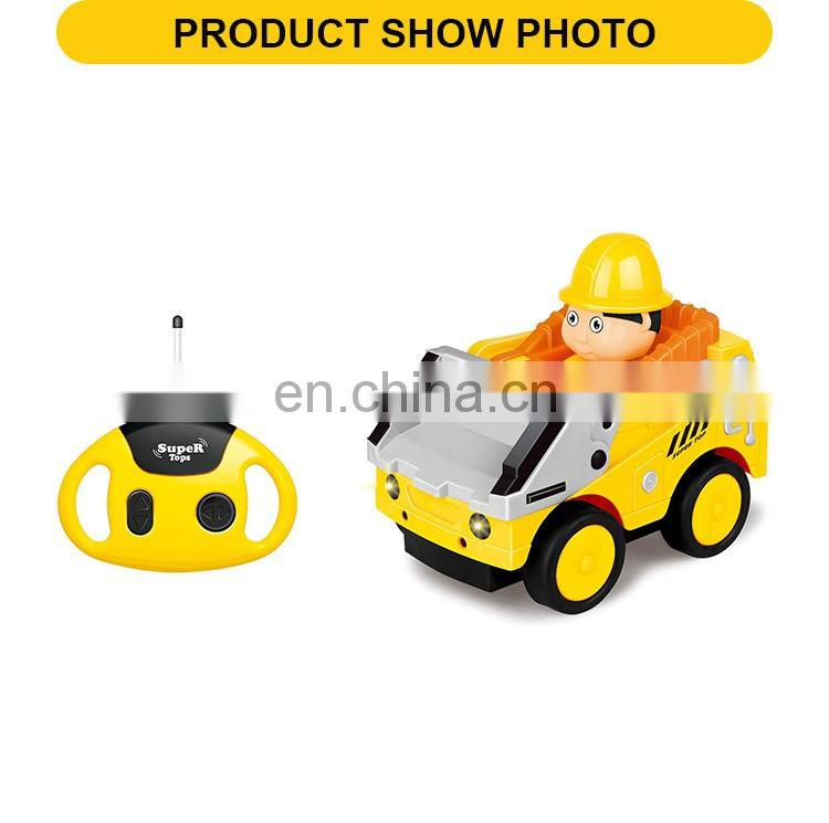 New product 4 channel remote control plastic rc toys construction toy truck with light & music