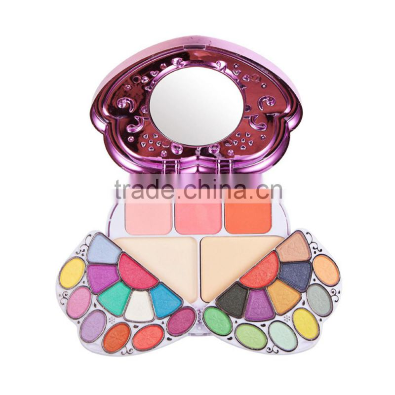 New Eyeshadow Lipstick Makeup Powder Blusher Makeup Palette Set With 7PCS Rose Makeup Brush