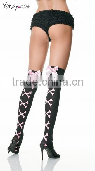 Wholesale White Sheer Ruffle Top Thigh High Stockings With Satin Bow And Pearl String 2 Colors