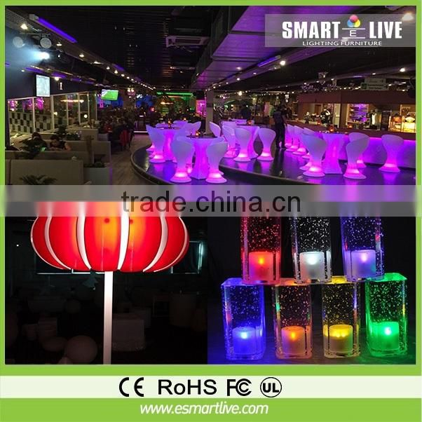 waterproof rgb plastic cube sofa with led lighting in bar