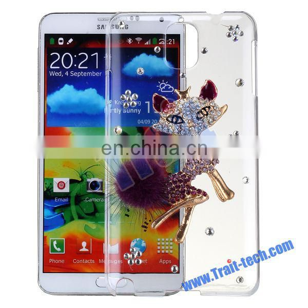 3D Cute Fox Bling Diamond Protective Back Transparent Hard Case for Samsung Galaxy Note 3 N9000 N9002 N9005