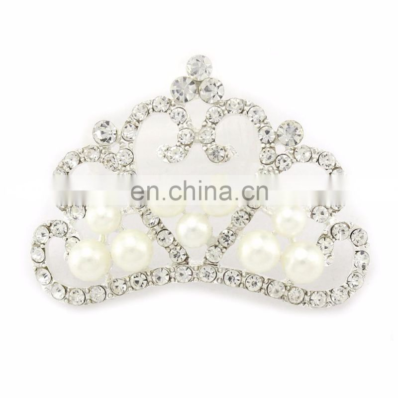 2016 Trendy Alloy Rhinestone Tiara Crown Clear Crystal for Accessories Clear with Silver Plating