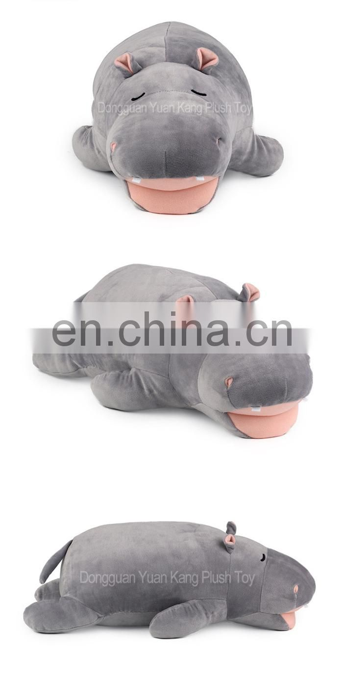 2017 New Design Creative Lovely Plush Stuffed Animal Funny Hippo Pillow Toy for Babies