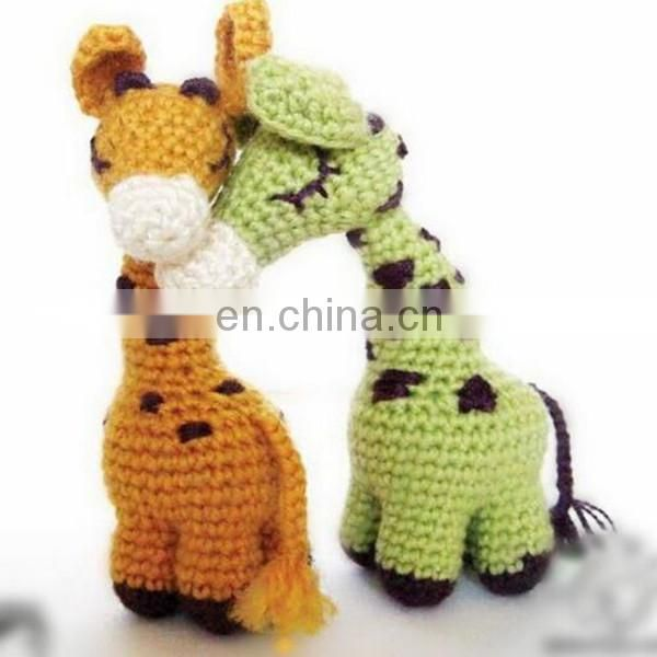 Hand Knitted giraffe plush toy crochet Toys baby Dolls promotional knit woven factory hand made knitted animal toy