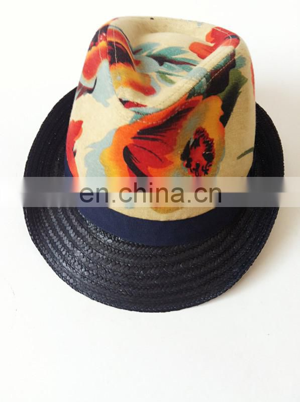 Fashion Hat Oil Painting Cotton With Paper Rope Fedora Hat