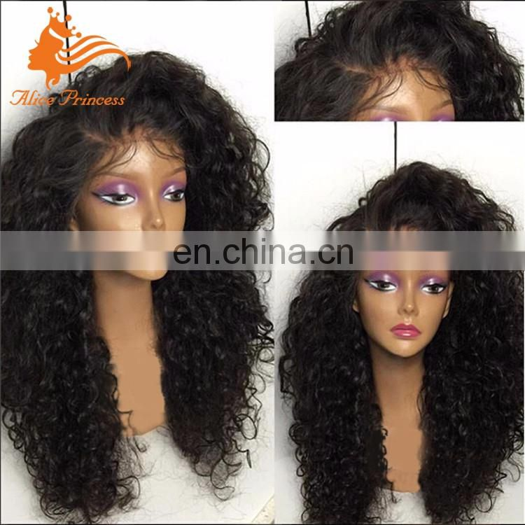Virgin Human Hair Afro Curly Wig Glueless Indian Hair 200% Density Full Lace Wig With Baby Hair Curly Led Wig