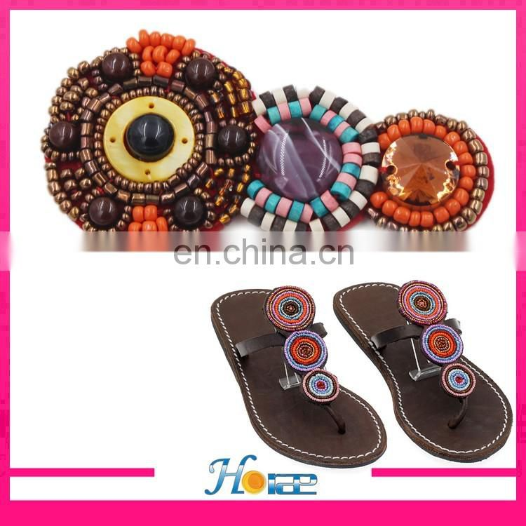 handmade lady sandal accessories flip flop beads flower decoration