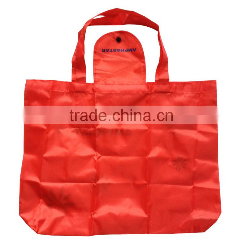 promotional good quality flap closure folding polyester shopping bag