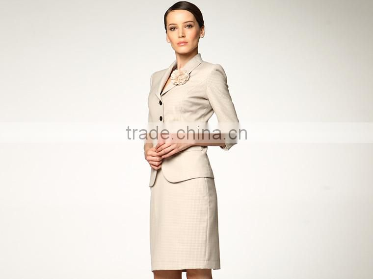 2014 Top Quality 100% wool Classic beige four button women office skirt suit
