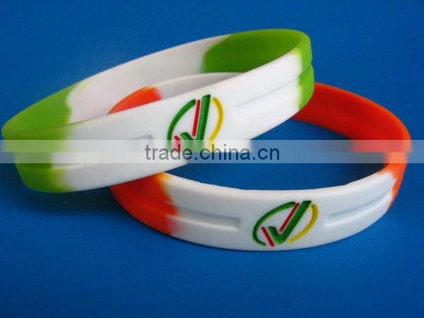 debossed and ink filled silicone wristbands