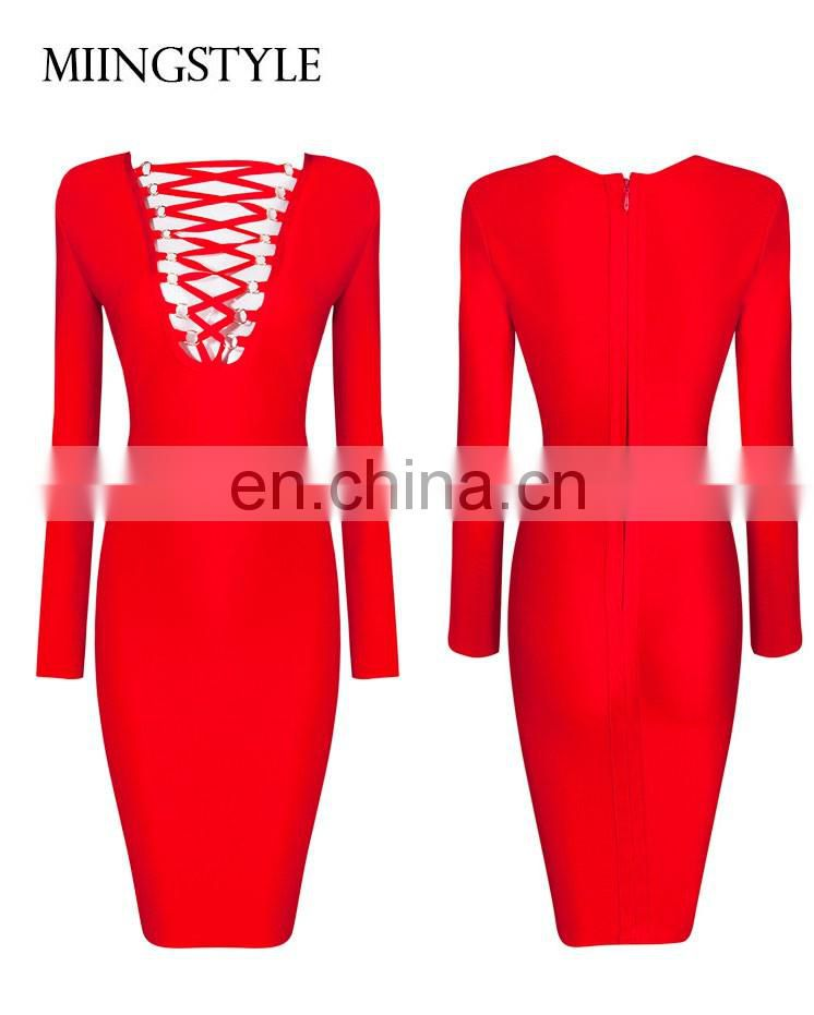 2016 Wholesale Newest Bandage Dress Fashion Sexy Long Sleeve Bandage Dress 2016