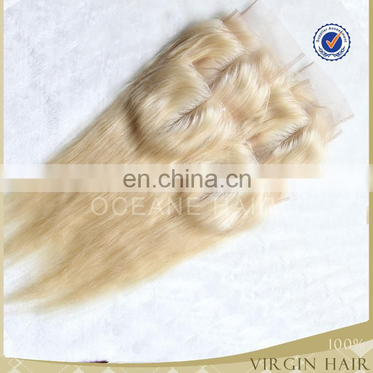 Brazilian virgin human hair top closure 4x4 full blonde 613 hair closure piece