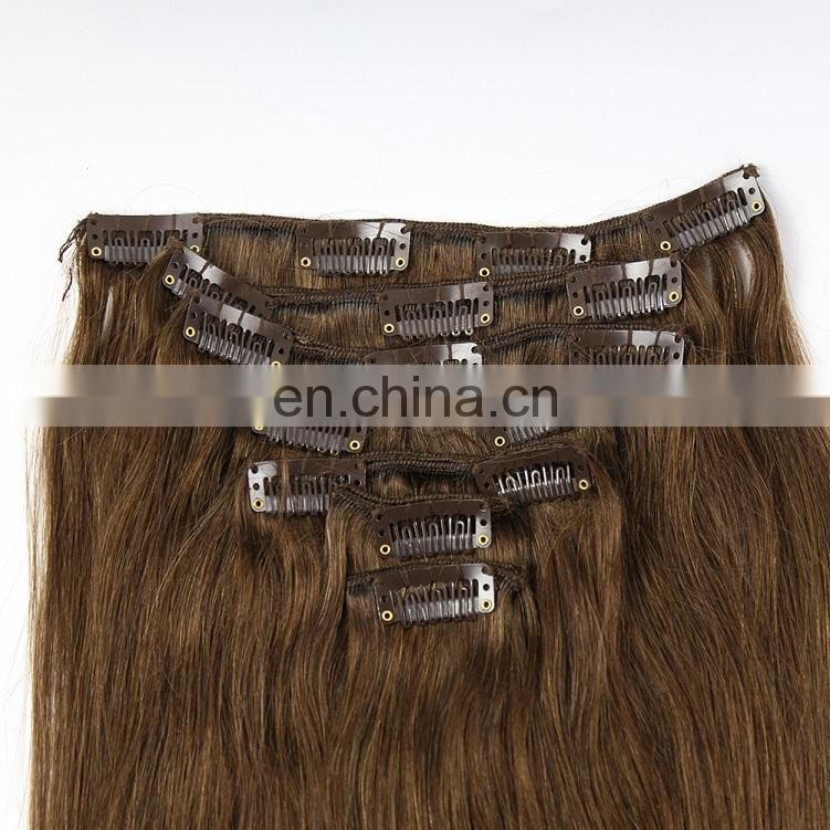 Youth Beauty Hair 2017 best saling 8A Brazilian human virgin hair clip in hair extension silky atraight wave in chestnut brown