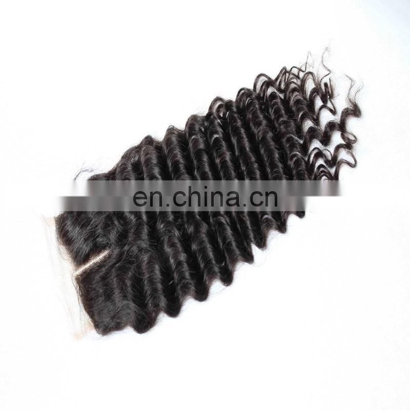 Factory direct sales 4x4 full lace human hair closure remy virgin peruvian deep wave hair fast delivery