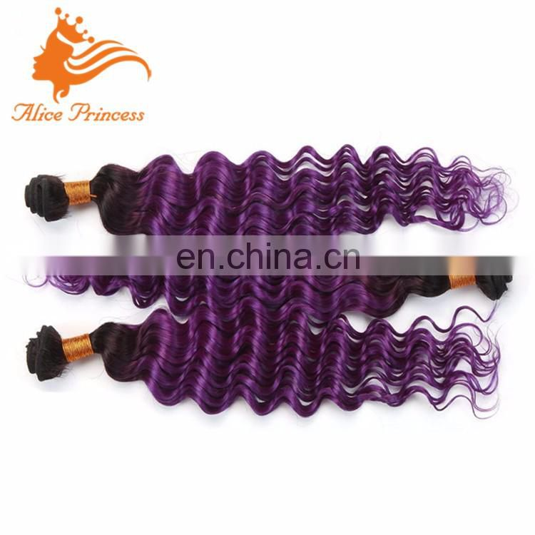 Two Tone Colored Peruvian Hair Weave Extensions 1BTPurple Double Drawn Deep Curly Hair Weft