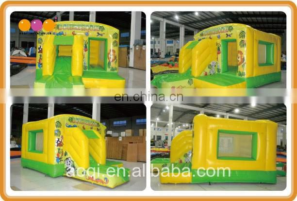 2016 new design mini inflatable slide combo yellow lion inflatable bounce house combo for kids