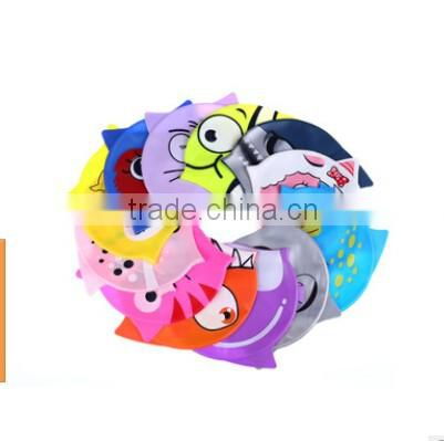 Animal Fish Cartoon Silicone Kids Child Swimming Bathing Head Cover Cap Hat Cap