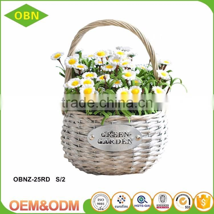 China new design wholesale high quality custom hanging wicker flower girl basket