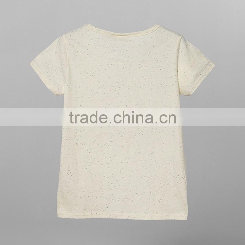 ladies cheap print tshirt100%bamboo fiber tshirt slubbed fabric tshirt