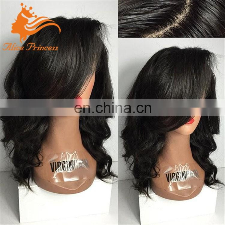 100% human hair glueless silk top full lace wig virgin brazilian Hair cheap silk top full lace wigs With Bangs