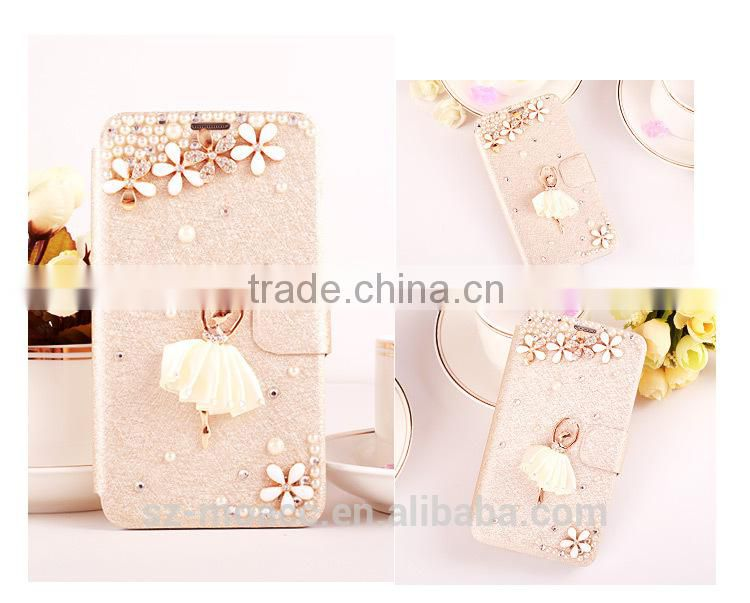 Fashion Diamond Leather Flip Case for Sony Z3