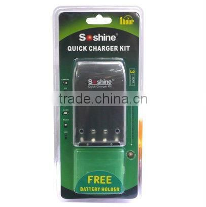 Soshine SC-U2 AA/AAA NiMH/NiCD Battery Quick Charger with Battery Holder Case (100V~240V AC)