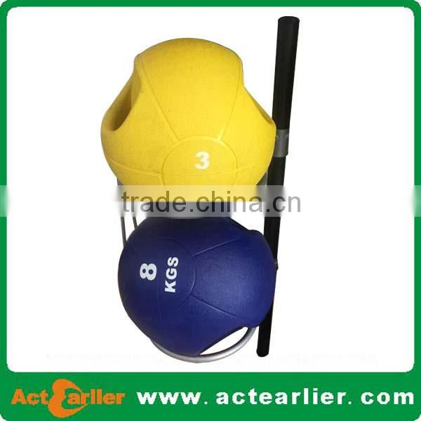 rubber material fitness medicine ball with double grip