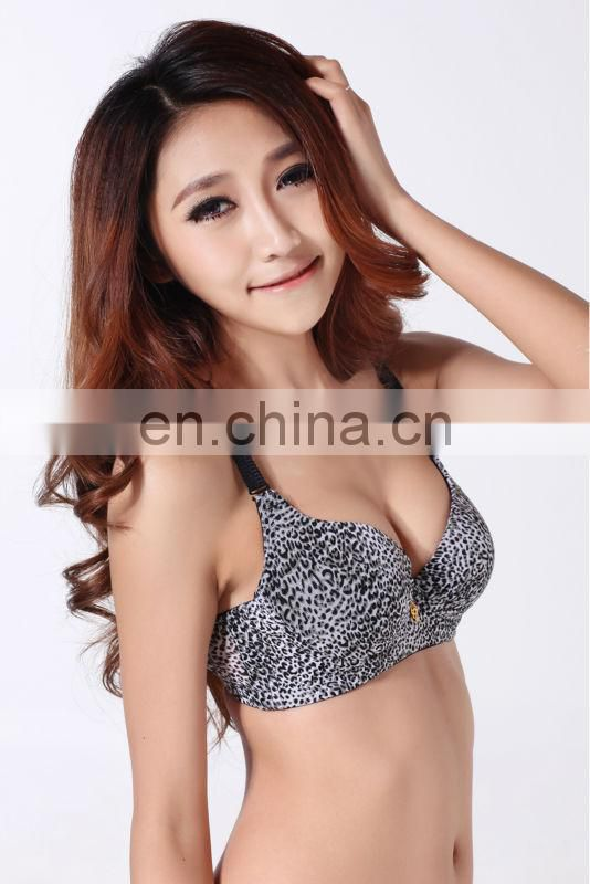 Sexy young girls under wear sexy black leopard printed brassiere panties Trade assurance supplier