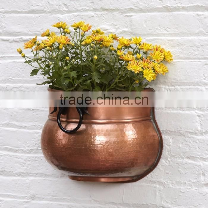 copper hammered hanging shiny planter