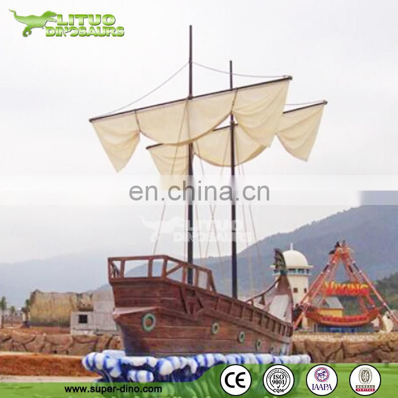 Water Park Decoration Pirate Boat Statue Fiberglass Model