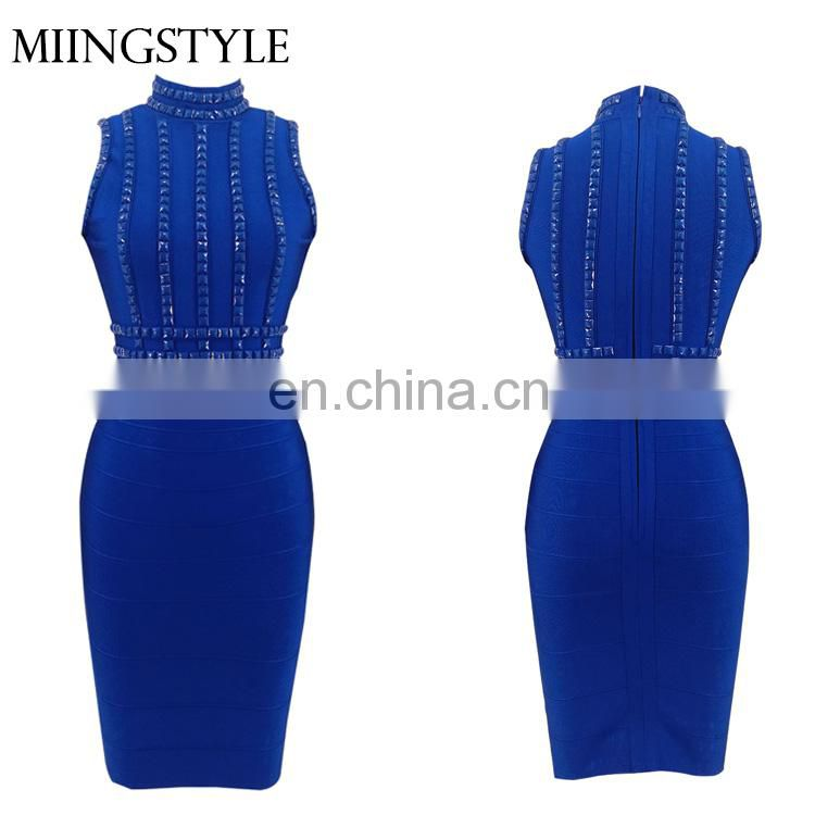 2017 woman bodycon cocktail formal guangzhou stud sexy bandage dress for ladies wholesale