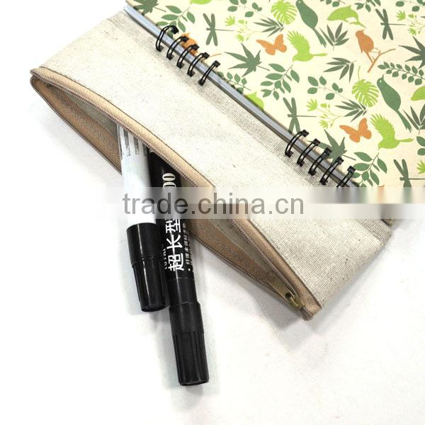 Spiral notebook kraft cover student children writing drawing note books with pen case recycle paper