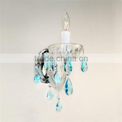mini blue crystal candle holders wall light with dish