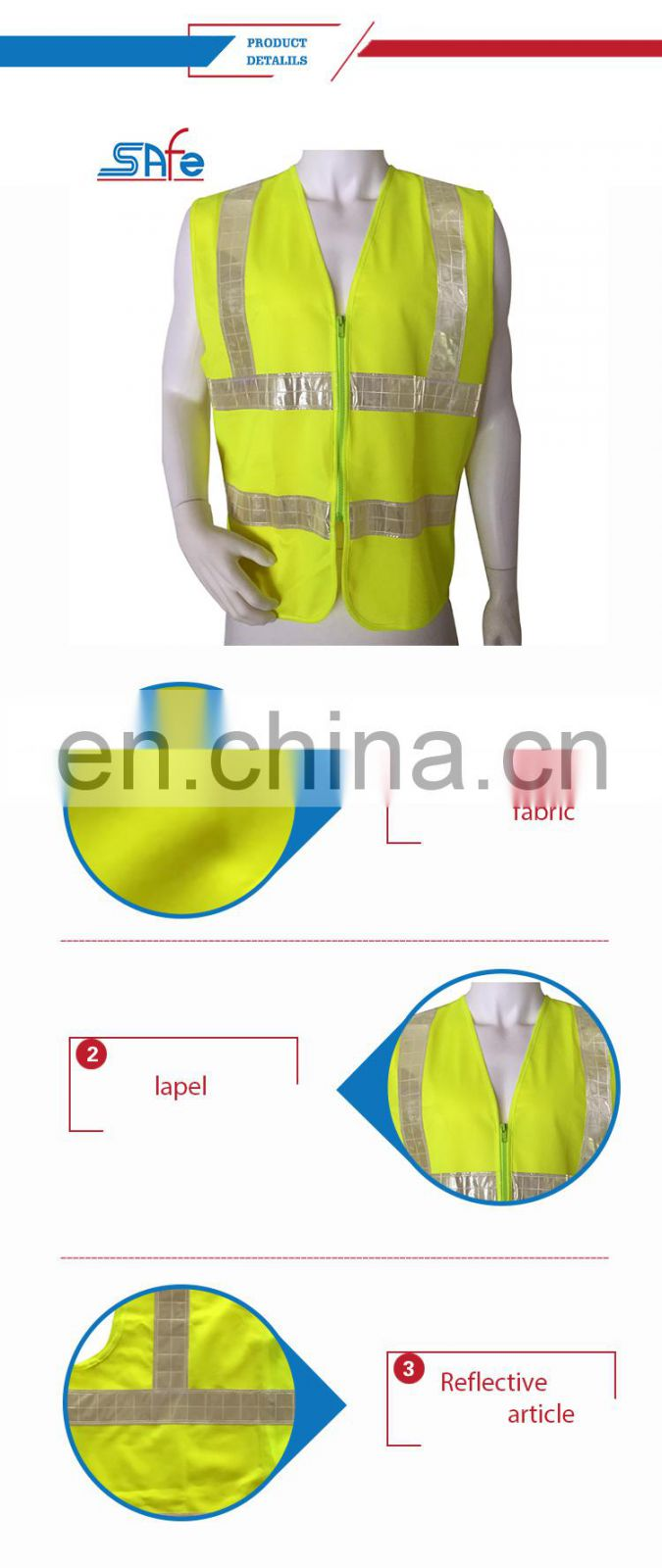 High visibility six lattices cheap reflective safety vest