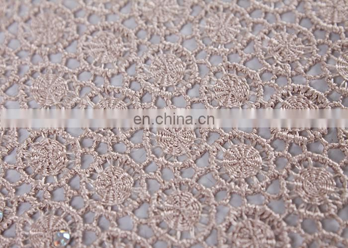 2015 wholesale guipure lace fabric with stones for wedding and party