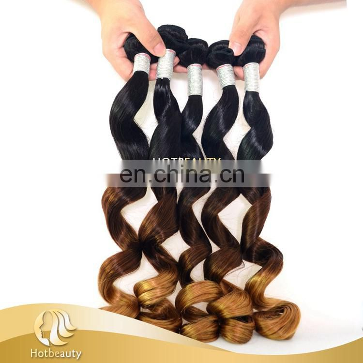 Natural Wave 100% Human Hair 3 Tone Colors Curly Hair Bundles 7A Hotbeauty