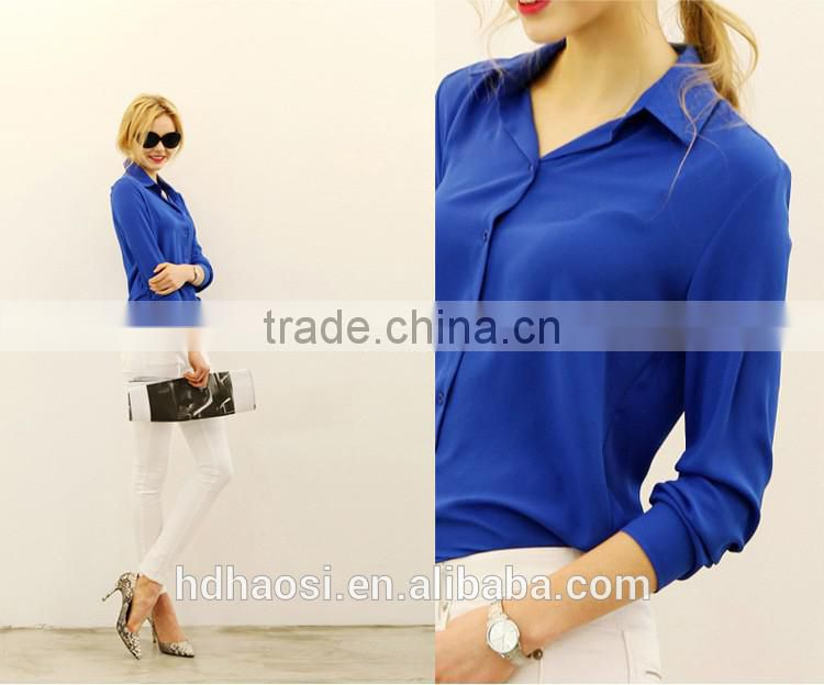 Factory Sale! Long sleeve Chiffon Shirt design for women blouse