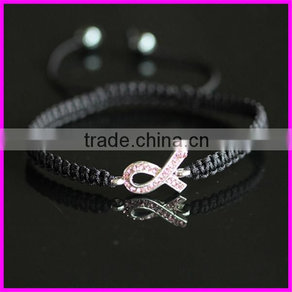 KJL-BD5159 Wholesale Handcrafted macrame bracelet ribbon breast cancer awareness sign bracelet